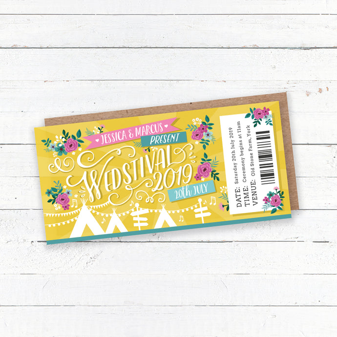 Wedstival Festival Ticket Wedding Invitation Suite