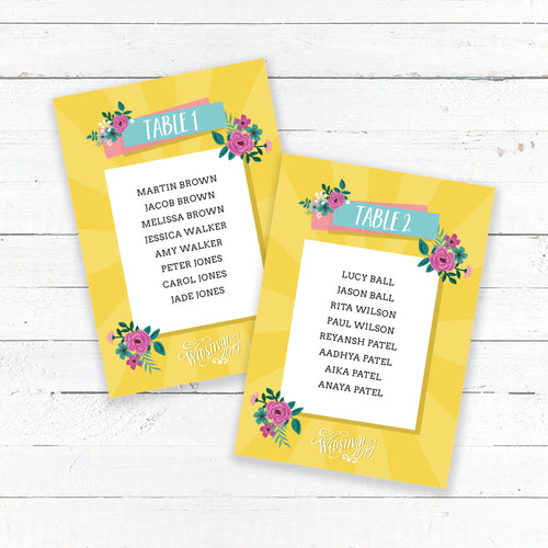 Wedstival Wedding Table Plan Cards