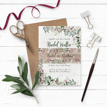 Load image into Gallery viewer, Rustic Winterberry Wedding Invitation Suite with Belly Band