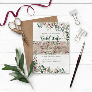 Rustic Winterberry Wedding Invitation Suite with Belly Band