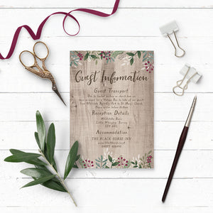Rustic Winterberry Wedding Invitation Additional Details Card