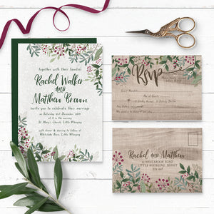 Rustic Winterberry Wedding Invitation Suite