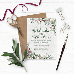 Rustic Winterberry Wedding Invitation