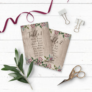 Rustic Wedding Winterberry Table Plan Cards