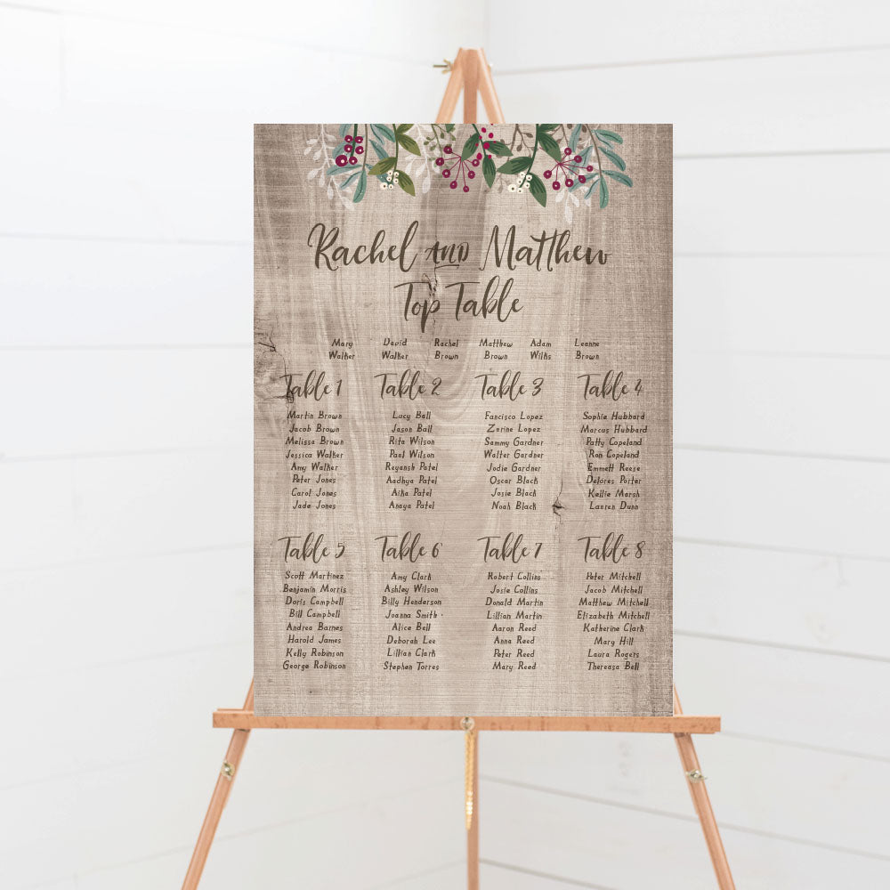 Winterberry Rustic Wedding Table Plan