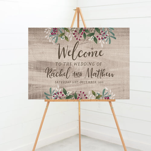 Rustic Winter Wood Welcome Wedding Sign