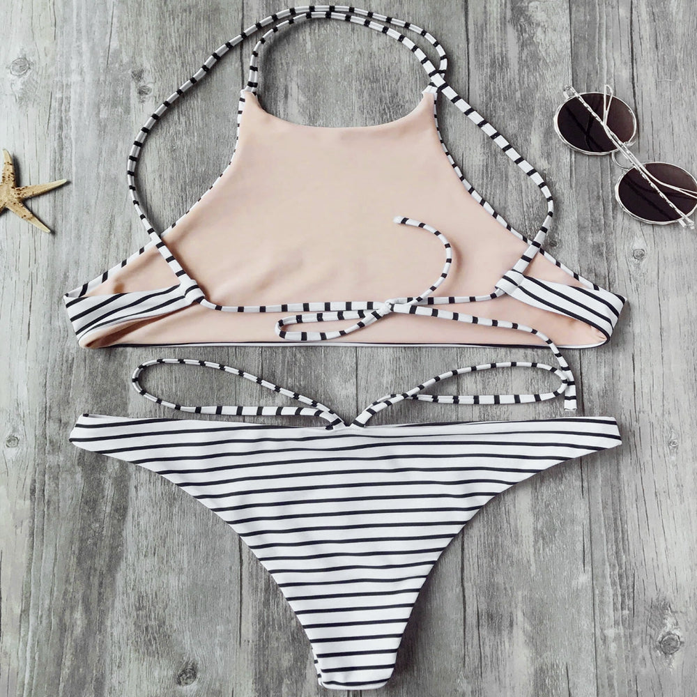 Striped High Neck Bikini Set,Bandeau Bikinis,YOUR WISH LIST