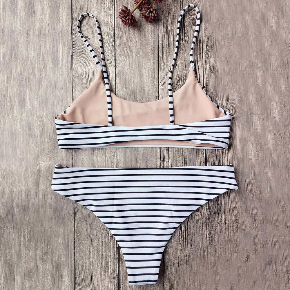Striped Cami Bralette Bikini Set,Bandeau Bikinis,YOUR WISH LIST