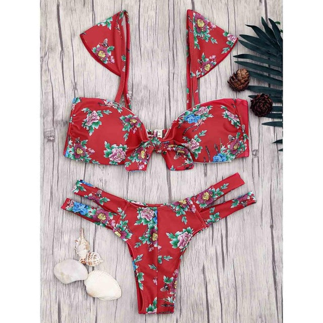 Red Floral Print Banded Knot Bikini Set,Thong Bikinis,YOUR WISH LIST