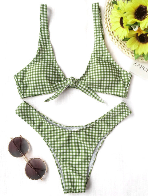 Thong Plaid Front Tie Bikini Set,Thong Bikinis,YOUR WISH LIST