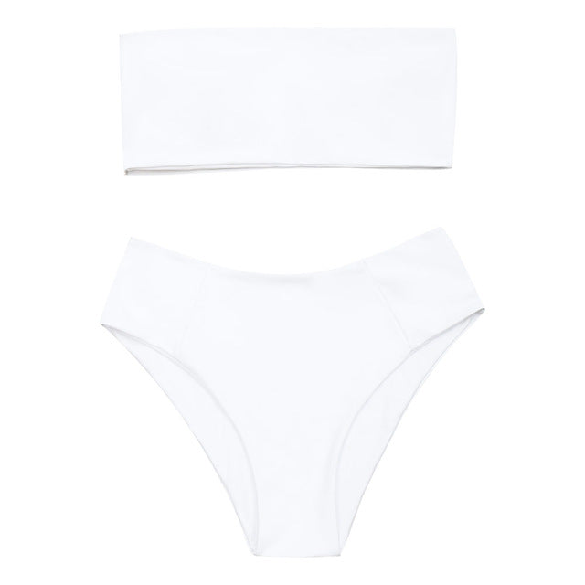 Bandeau Collar High Cut Bikini Set,Bandeau Bikinis,YOUR WISH LIST