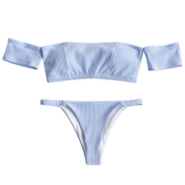 Striped Off Shoulder Thong Bikini Swimsuit,Bandeau Bikinis,YOUR WISH LIST