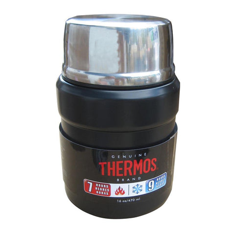 Thermos Stainless King™ Vacuum Insulated Food Jar w-Folding Spoon - 16 oz. - Stainless Steel-Matte Black