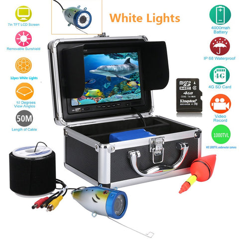 "Image of 50M HD Underwater Fishing Camera Video Recorder Depth Finder 1000TVL DVR 7"" White LED lights Camera Fishing-outdoor sports-Hunting & Fishing Stuff-China-White LEDs cable 20M-Hunting & Fishing Stuff"
