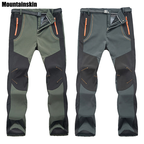 Image of Hiking Pants Outdoor Softshell Trousers Waterproof Windproof Thermal for Camping Ski Climbing