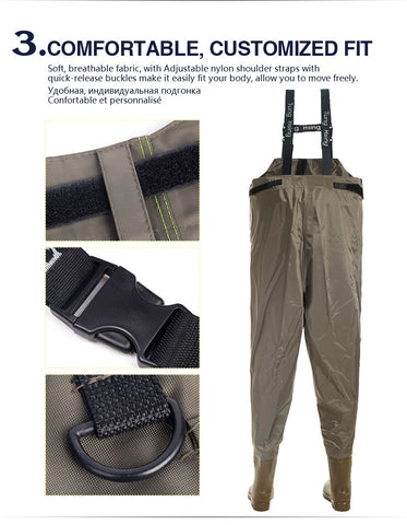 Image of Waterproof fishing Chest waders with wading boots for fishing-outdoor sports-Hunting & Fishing Stuff-size 43-United States-Hunting & Fishing Stuff