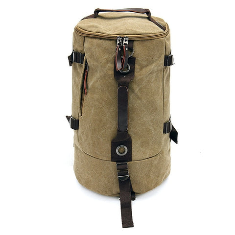 Image of Canvas Duffel Backpack Camping-outdoor sports-Hunting & Fishing Stuff-Khaki-United States-Hunting & Fishing Stuff
