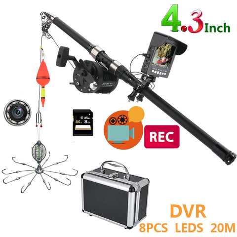 4.3 Inch Color DVR Recorder Monitor Underwater Fishing Video Camera Kit 8 Pcs IR LED Lights with Explosion fishing hooks-outdoor sports-Hunting & Fishing Stuff-Hunting & Fishing Stuff
