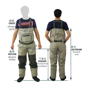 Breathable Chest Waders waterproof  overalls with Stocking Foot