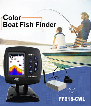 Lucky Fish Finder wired and wireless 2 in 1 Echo Sensor Sonar Fishfinder for Boat