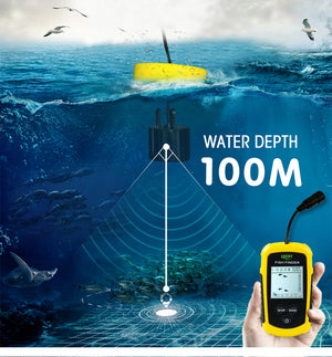 Lucky Portable Fish Finder Sonar Alarm Echo Sounder 0.7-100M fishfinder for fishing Sensor Depth English Russian manual #C5