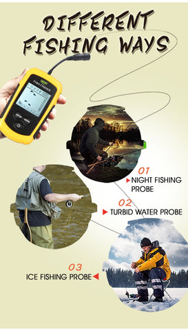 Lucky Portable Fish Finder Sonar Alarm Echo Sounder 0.7-100M fishfinder for fishing Sensor Depth English Russian manual #C5-outdoor sports-Hunting & Fishing Stuff-United States-with fishing line-Hunting & Fishing Stuff