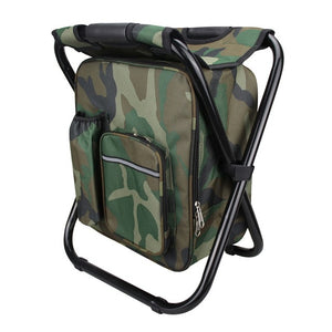 Foldable Camping Fishing Chair Stool Backpack with Cooler Insulated Picnic Bag Hiking Camouflage Seat Table Bag
