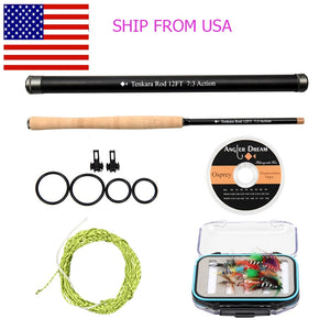Fly Rod Combo Telescoping Carbon Fiber Fly Fishing Rod With Furled Leader Fluorocarbon Tippet-outdoor sports-Hunting & Fishing Stuff-12FT COMBO-United States-Hunting & Fishing Stuff