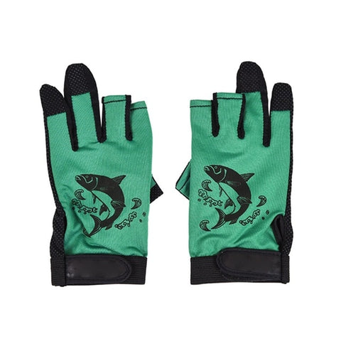 Image of Three Fingerless Soft Breathable Anti-slip Gloves-outdoor sports-Hunting & Fishing Stuff-Green-United States-Hunting & Fishing Stuff