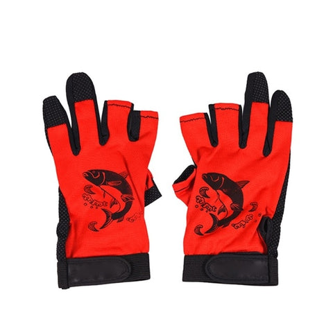 Image of Three Fingerless Soft Breathable Anti-slip Gloves-outdoor sports-Hunting & Fishing Stuff-Red-United States-Hunting & Fishing Stuff