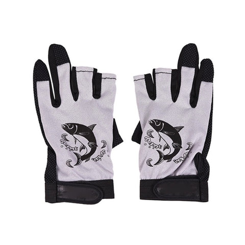 Image of Three Fingerless Soft Breathable Anti-slip Gloves-outdoor sports-Hunting & Fishing Stuff-Gray-United States-Hunting & Fishing Stuff