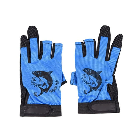 Image of Three Fingerless Soft Breathable Anti-slip Gloves-outdoor sports-Hunting & Fishing Stuff-Blue-United States-Hunting & Fishing Stuff