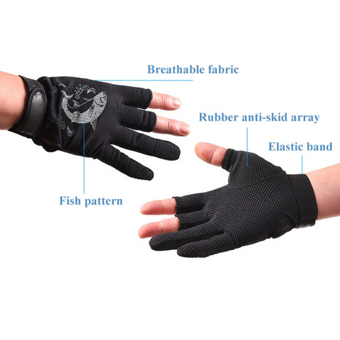 Image of Three Fingerless Soft Breathable Anti-slip Gloves-outdoor sports-Hunting & Fishing Stuff-Black-United States-Hunting & Fishing Stuff