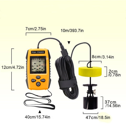 Portable Dot Matrix Fish Finder Wired Sonar Sensor Fishing Detector 0.7-100M Depth Sounder Lake Sea Fishing Tackle TL88-outdoor sports-Hunting & Fishing Stuff-Hunting & Fishing Stuff
