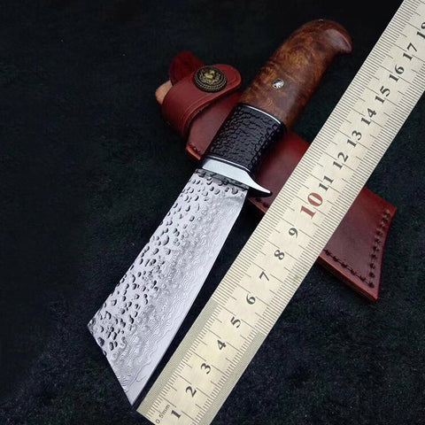 Image of Handmade Tactical Army Survival Camping Knife VG10 Handle Hunting Outdoor Knife With Ebony Sheath 60 HRC Japanese Samurai Style-outdoor sports-Hunting & Fishing Stuff-Hunting & Fishing Stuff