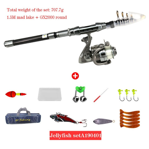 Image of Full Kit Fishing Rod Gear + Spinning Reel + Lures Hooks With Bag Fishing Tackle Set-outdoor sports-Hunting & Fishing Stuff-Black-1.5m-United States-Hunting & Fishing Stuff