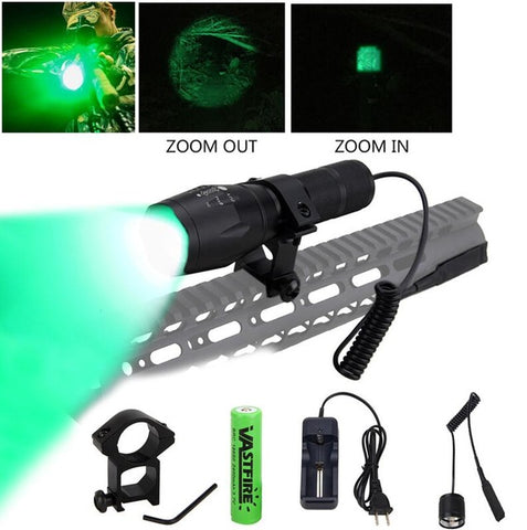 LED Tactical Gun light Zoomable 5000Lm Rail Airsoft Rifle Scope Mount-outdoor sports-Hunting & Fishing Stuff-Green-United States-Hunting & Fishing Stuff