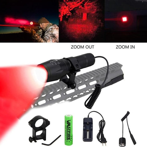 LED Tactical Gun light Zoomable 5000Lm Rail Airsoft Rifle Scope Mount-outdoor sports-Hunting & Fishing Stuff-Red-United States-Hunting & Fishing Stuff