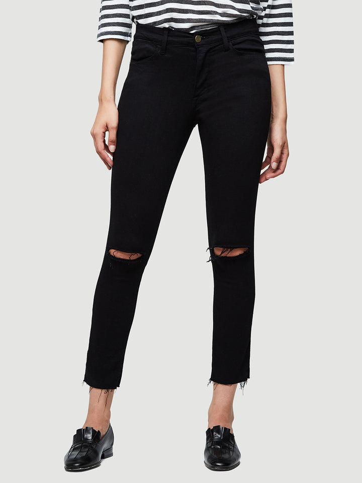 Le High Skinny Crop Raw Edge -- Noir Slits