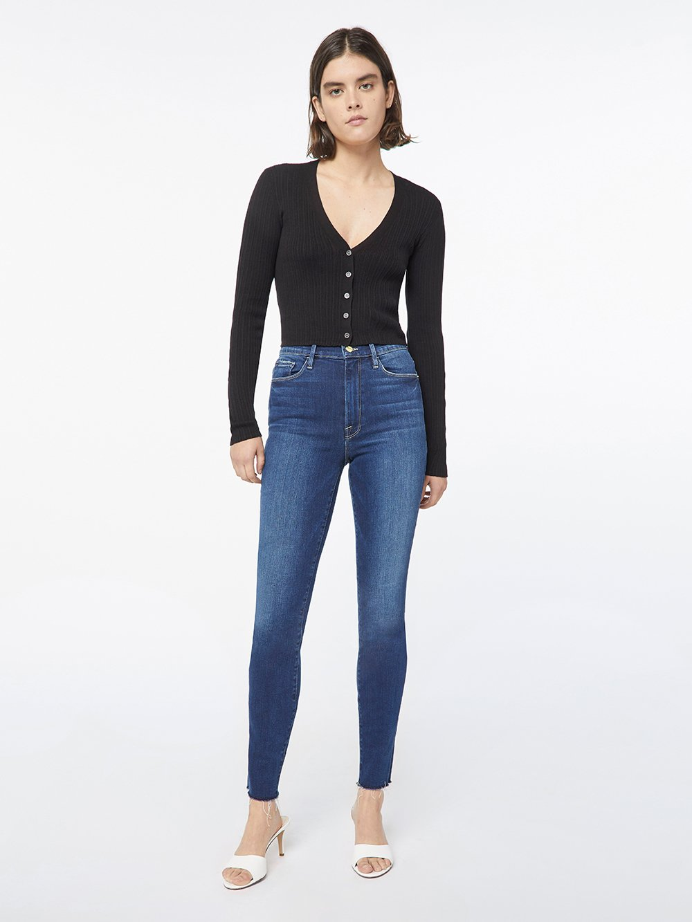 Mixed Rib Cardi in Noir by Frame, available on frame-store.com for $147 Kaia Gerber Top Exact Product
