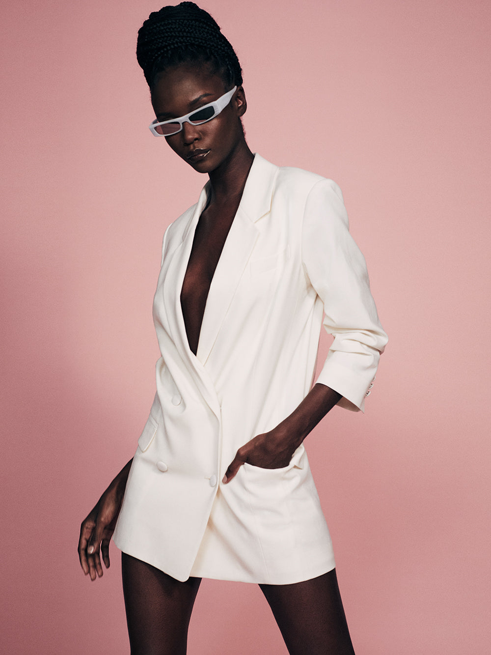 Imaan x FRAME Darted Blazer -- Off White