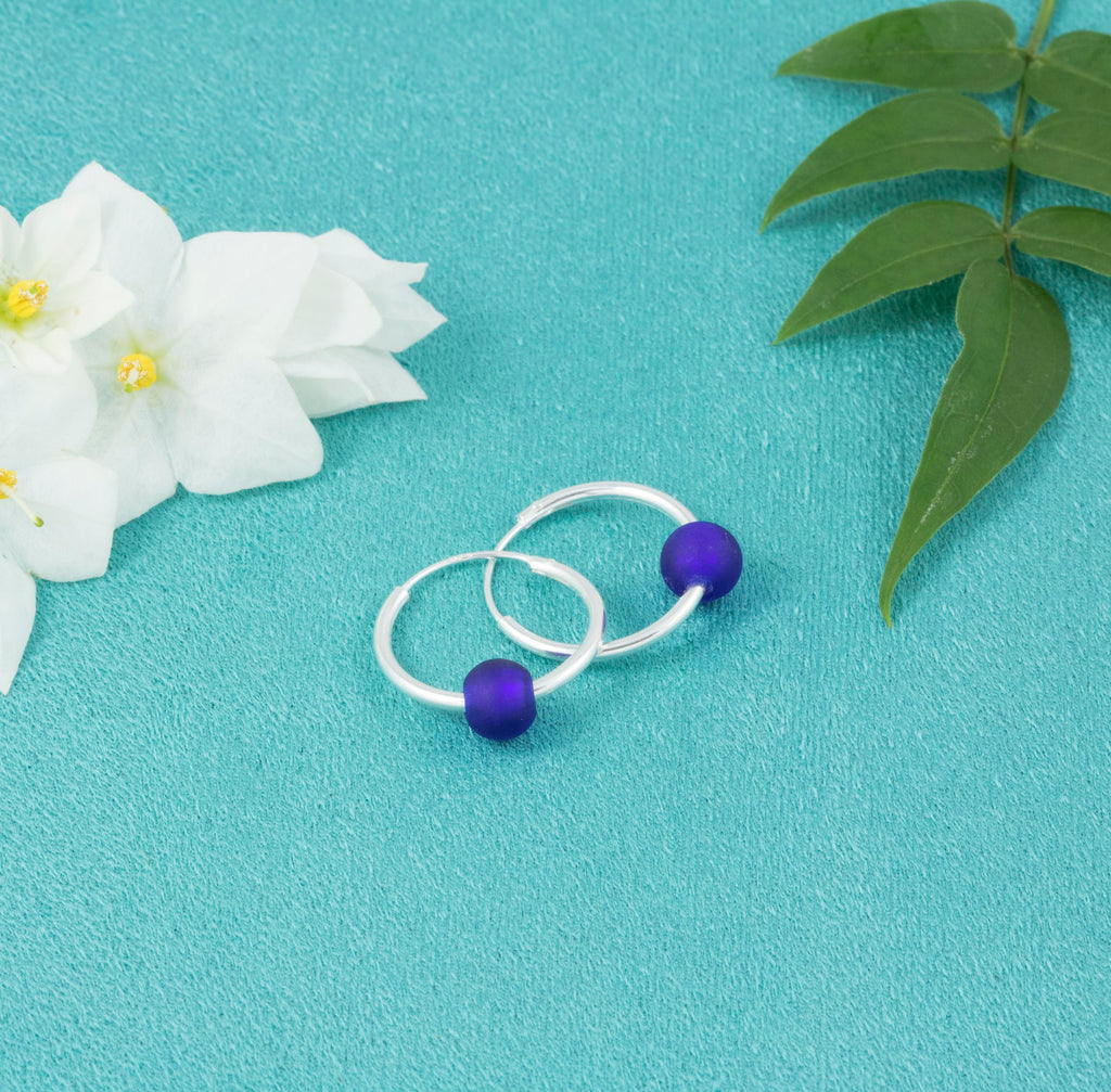 Deep Blue Glass Bead Hoop Earrings - Milly & Co.