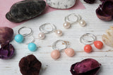 Gorgeous Handmade Blush Pearl Hoop Earrings from the UK - Milly & Co.