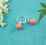 Peach Pearl Hoop Earrings - Milly & Co.