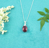 Ruby Pear-Shaped Crystal Necklace - Milly & Co.