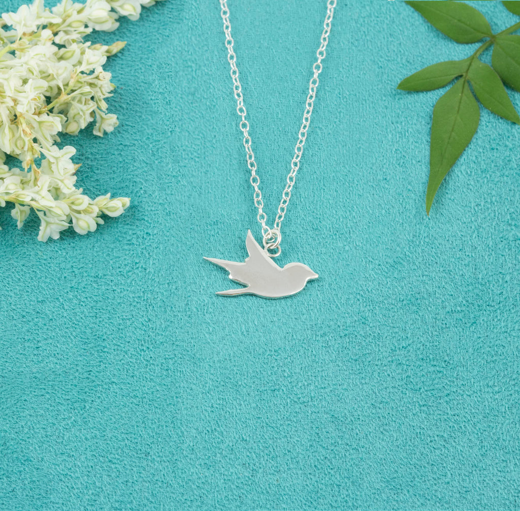 Sterling Silver Swallow Silhouette Necklace - Milly & Co.