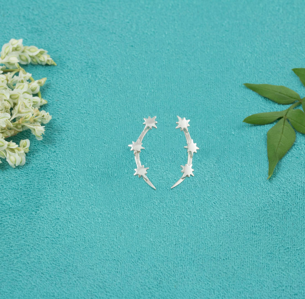 Sterling Silver Star and Crescent studs - Milly & Co.