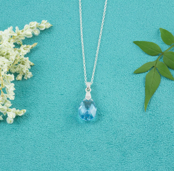Aquamarine Pear-Shaped Crystal Necklace - Milly & Co.