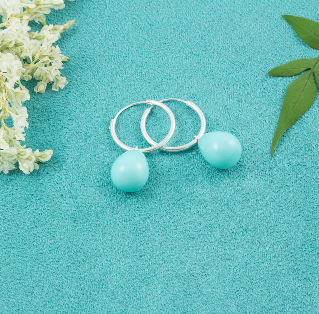 Turquoise Pearl Hoop Earrings - Milly & Co.