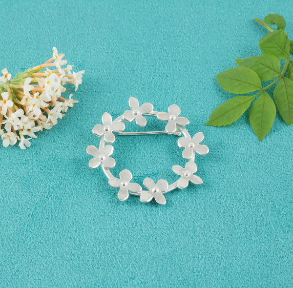 Sterling Silver Flower Garland Brooch - Milly & Co.